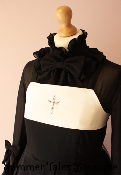 divine devotion jumperskirt worn with princess sleeve blouse in black