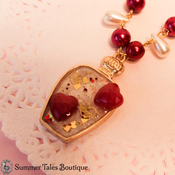 Valentines Bottled Tears Necklace Close Up