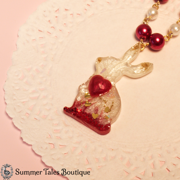 Valentines Bunny Necklace close up