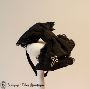 Black Grosgrain Headbow Cross
