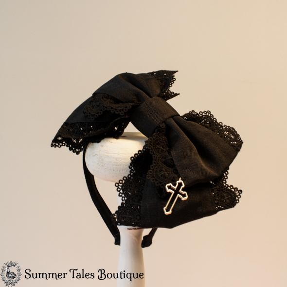Black Grosgrain Headbow Cross