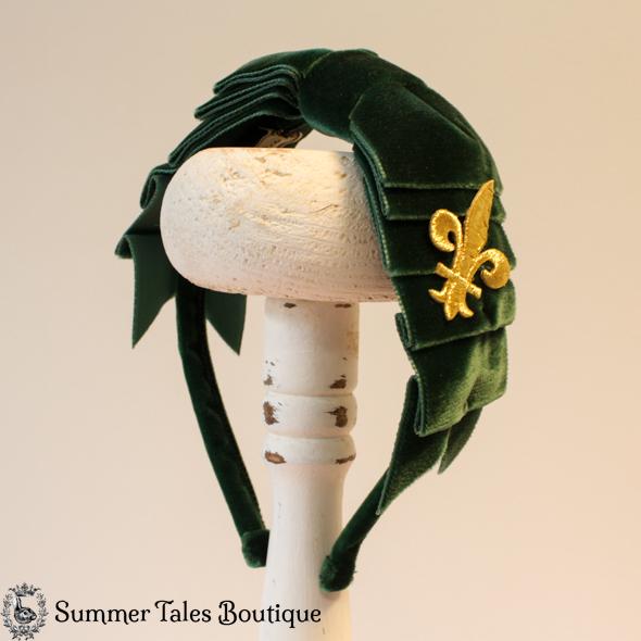 Velvet Folded Headbow Fleur-de-Lis Navy