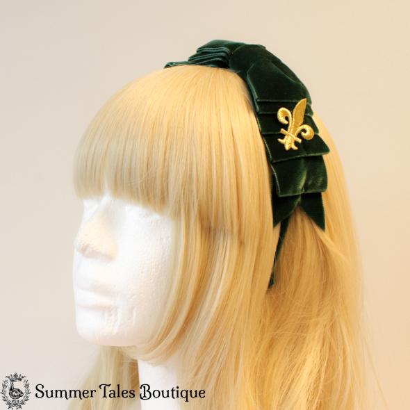 Velvet Folded Headbow Fleur-de-Lis Green