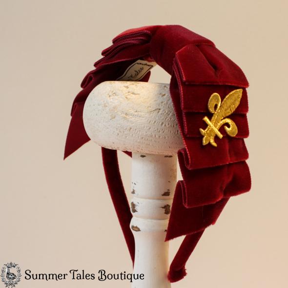 Velvet Folded Headbow Fleur-de-Lis Red