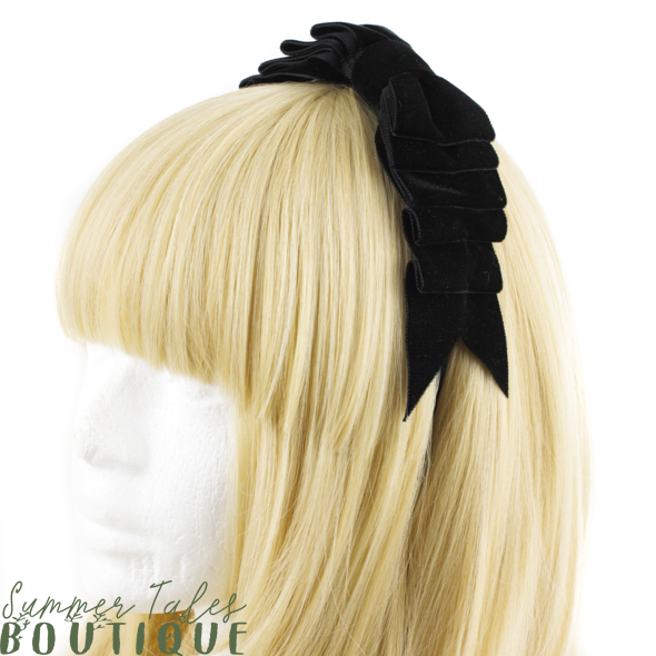 Velvet Folded Bow Black