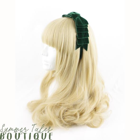 Velvet Folded Bow Green