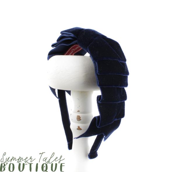 Velvet Folded Bow Navy