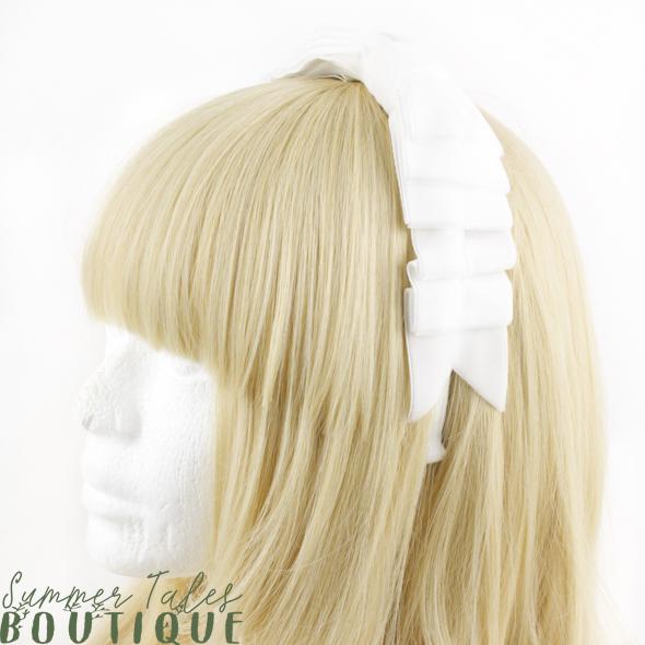 Velvet Folded Bow Offwhite
