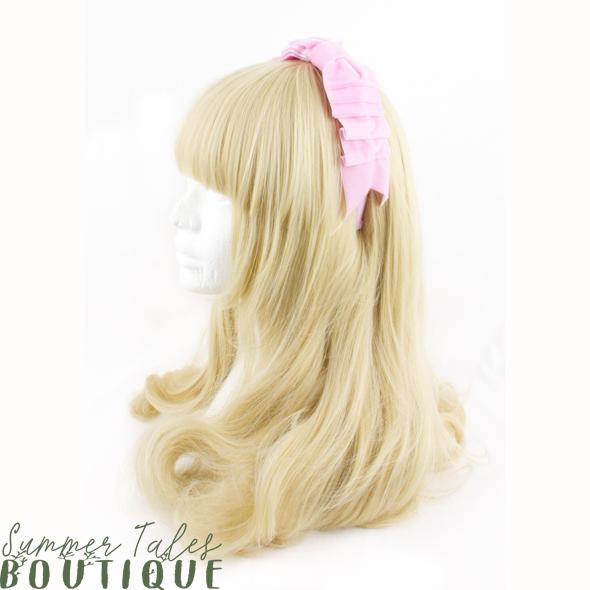 Velvet Folded Bow Pink