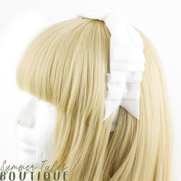 Velvet Folded Bow White