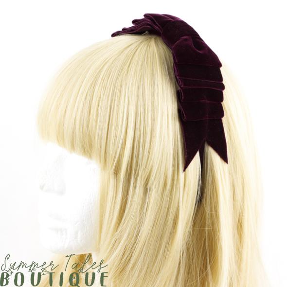 Velvet Folded Bow wine red