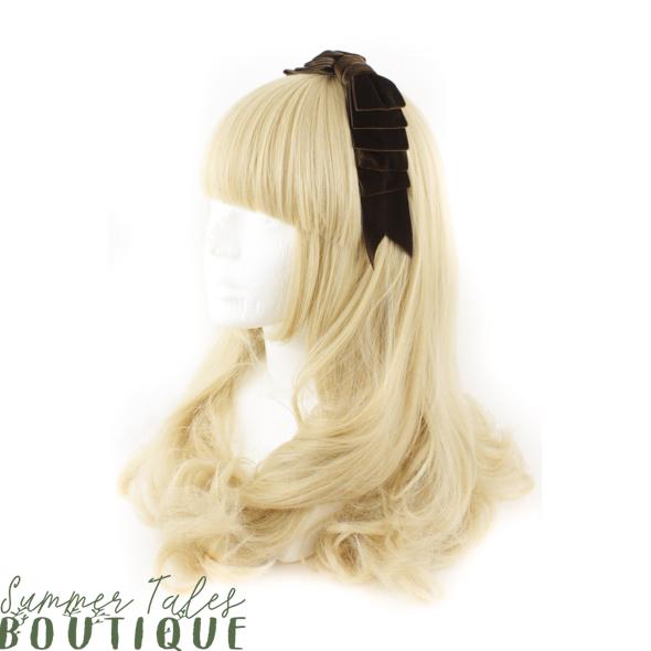 Velvet Folded Headbow Brown