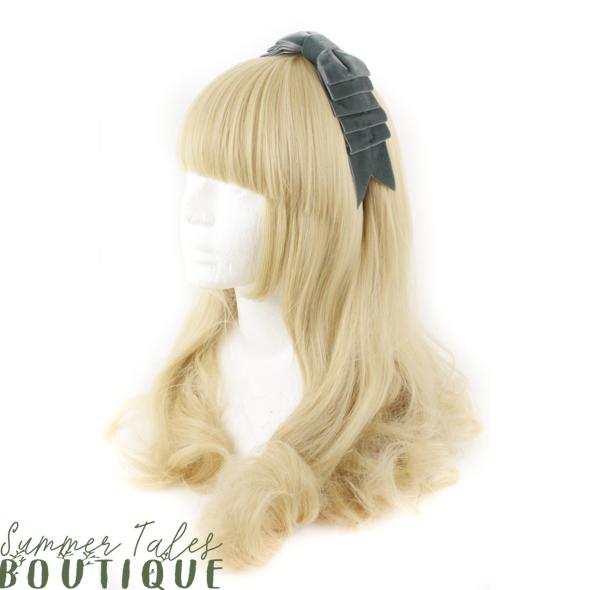 Velvet Folded Headbow Dark Grey