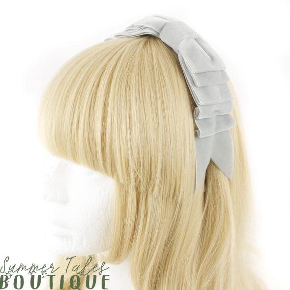 Velvet Folded Headbow Light Grey