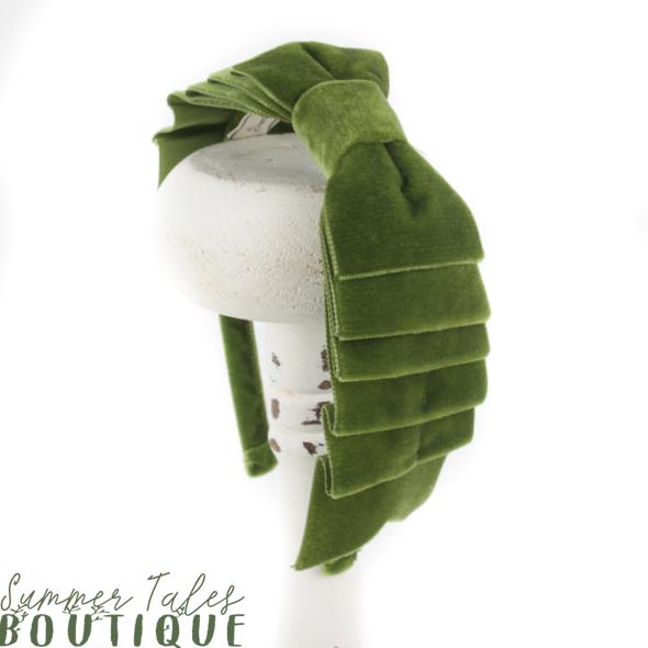 Velvet Folded Headbow Moss Green