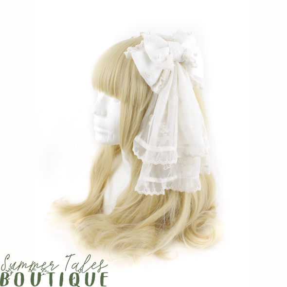 Beige Ribbon Veil Headbow