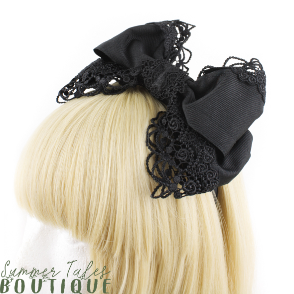 Black Cat Grosgrain Headbow