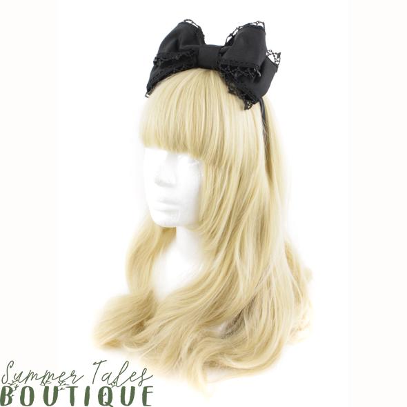 Black Grosgrain Headbow Pearl