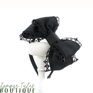 Black Grosgrain Headbow Pearl
