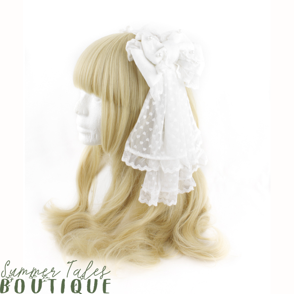 White Hearts Veil Headbow