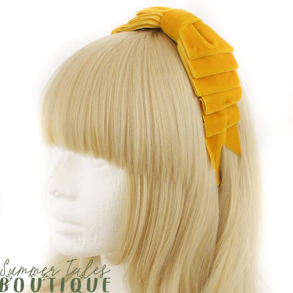Velvet folded headbow ocher yellow