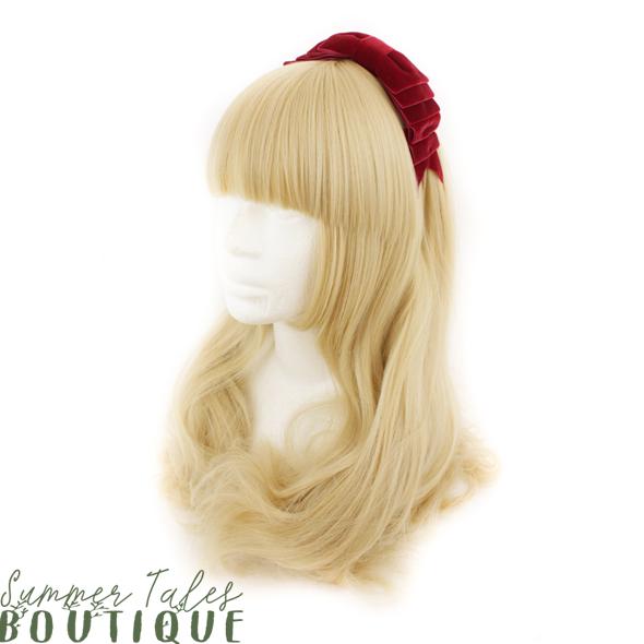 Velvet folded headbow red