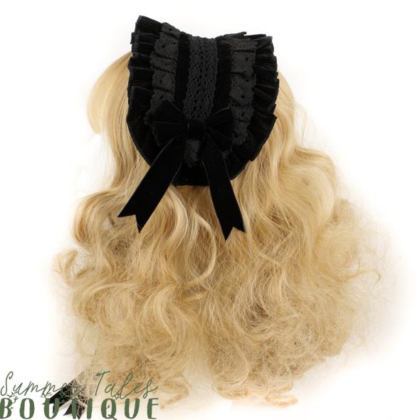 Nostalgia velveteen headdress black lace