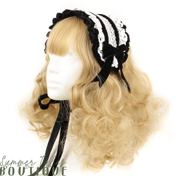Nostalgia velveteen headdress white lace