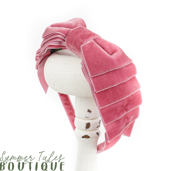 Velvet folded headbow dusty pink
