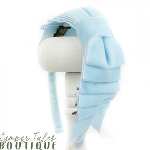 Velvet folded headbow light blue