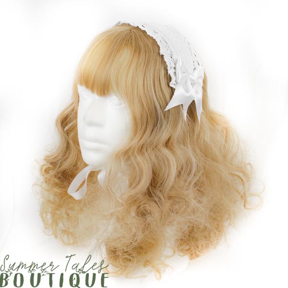 Nostalgia Organic Cotton headdress in white